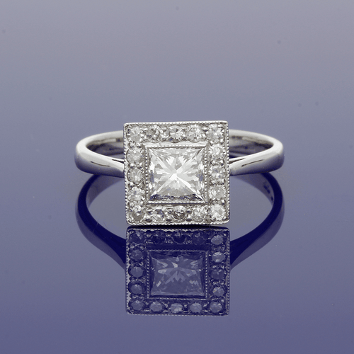 18ct White Gold & Diamond Art Deco Style Cluster Ring