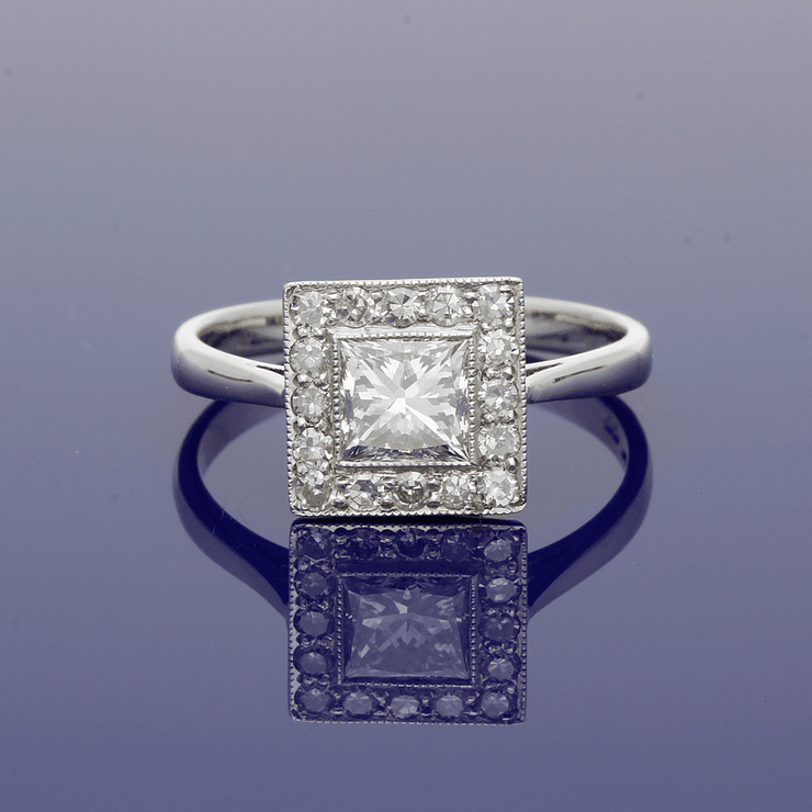 18ct White Gold Diamond Art Deco Style Cluster Ring