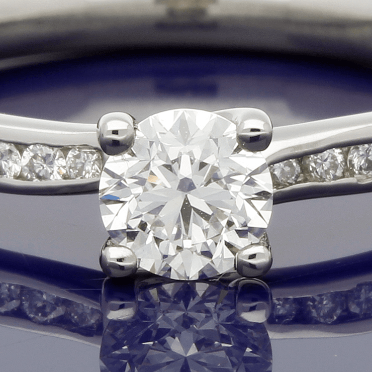 Platinum 0.40ct Diamond Solitaire Engagement Ring with Diamond Set Shoulders - Certificated