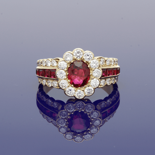 18ct Yellow Gold Ruby & Diamond Cluster Dress Ring