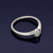 Platinum Diamond 0.41ct Solitaire Rub-Over Twist Ring