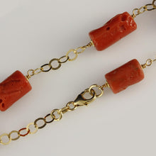 18ct Yellow Gold Red Coral Bracelet