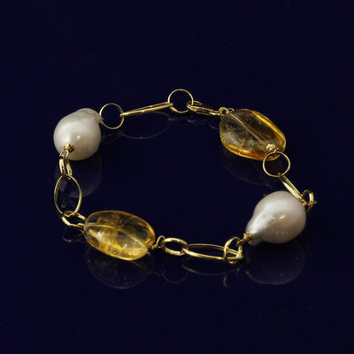 Baroque Pearl & Citrine 18ct Gold Bracelet