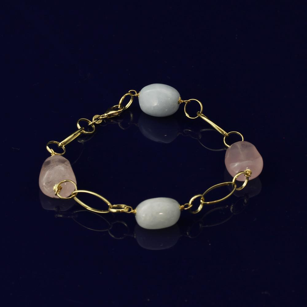 Aquamarine & Rose Quartz 18ct Gold Bracelet