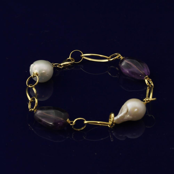 Baroque Pearl & Amethyst 18ct Gold Bracelet