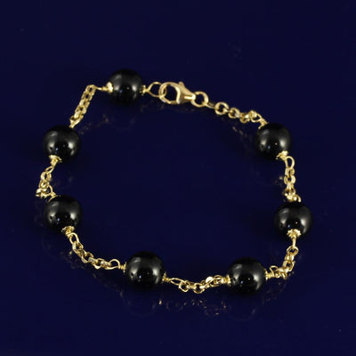18ct Yellow Gold Onyx Bracelet