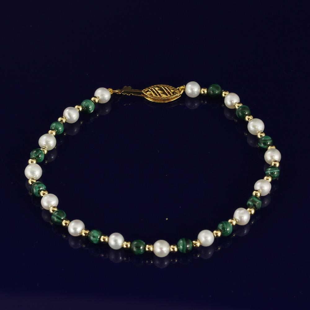 4-5mm Malachite & White Fresh Water Pearl Bracelet with 18ct Gold Beads