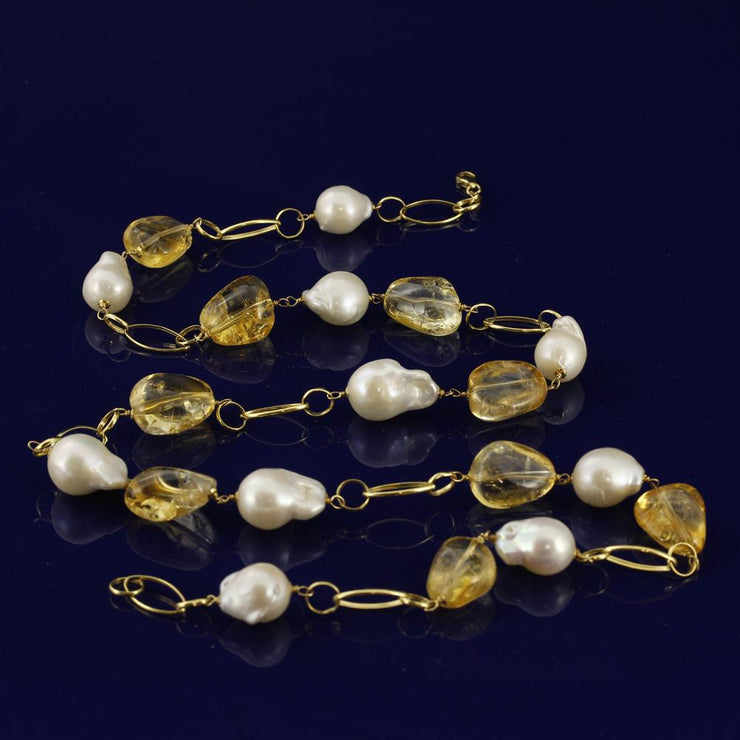 Baroque Pearl & Citrine 18ct Gold Statement Necklace