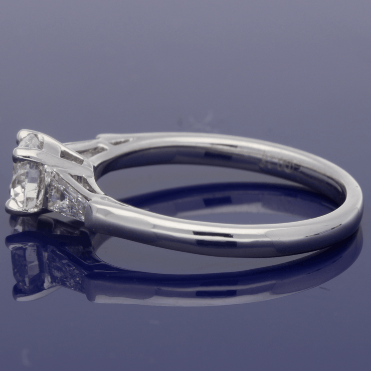 Platinum Certificated 0.71ct Diamond Engagement Ring with Tapered Baguettes