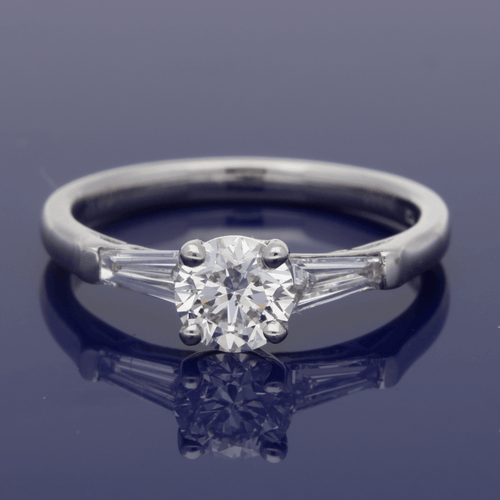 Platinum & Diamond Engagement Ring with Tapered Baguettes
