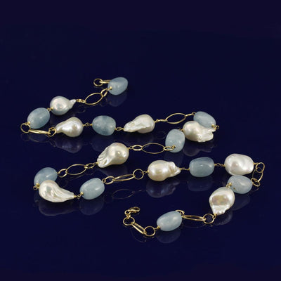 Baroque Pearl & Aquamarine 18ct Gold Statement Necklace