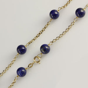 "18ct Yellow Gold Lapis Lazuli 17"" Necklace"