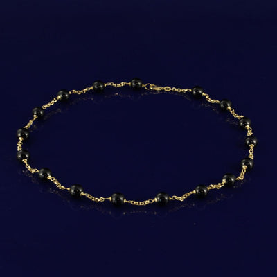"18ct Yellow Gold Onyx 18"" Necklace"