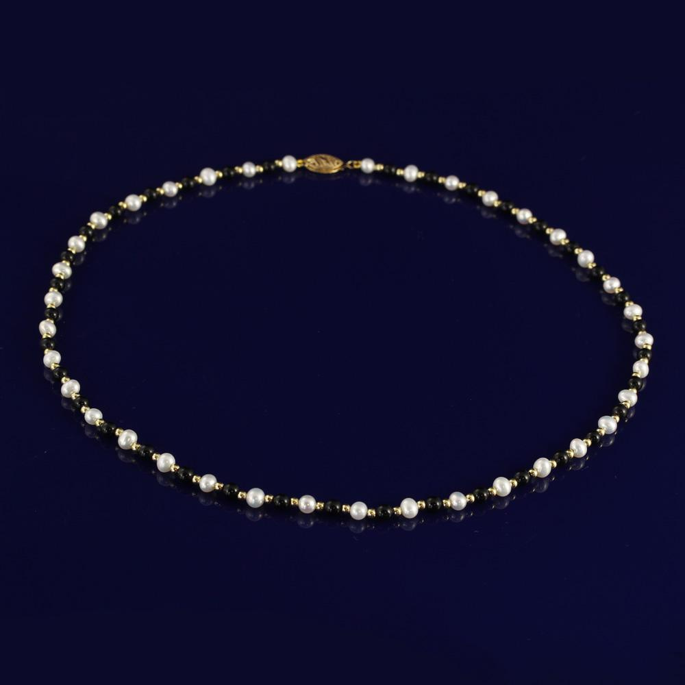 "4-5mm Onyx & White Fresh Water Pearl 18"" Necklace with 18ct Gold Beads"