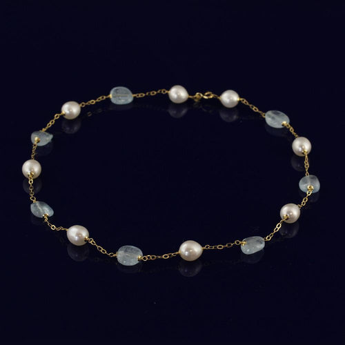 18ct Gold Fresh Water Pearl & Aquamarine Necklace