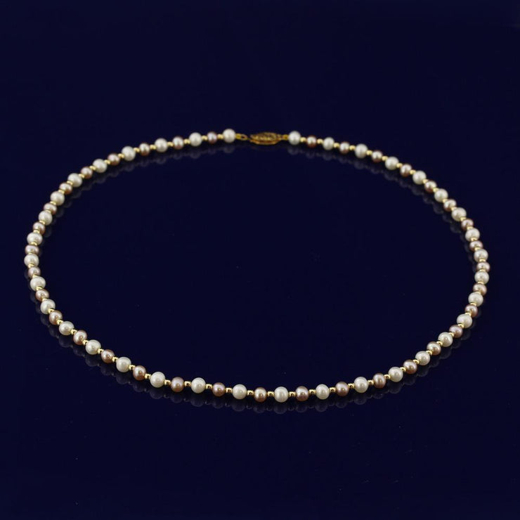 "4-5mm Pink & White Fresh Water Pearl 18"" Necklace with 18ct Gold Beads"