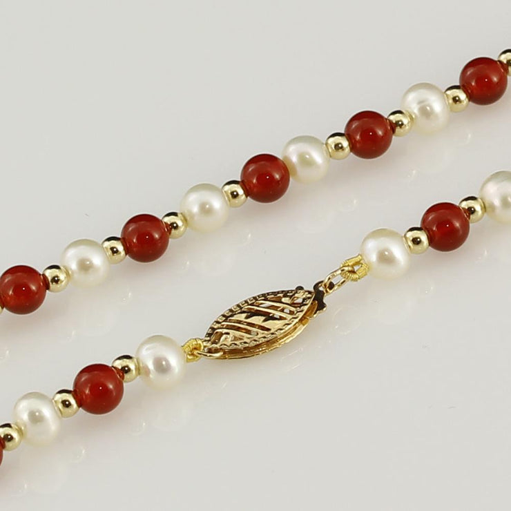 "4-5mm Cornelian & White Fresh Water Pearl 18"" Necklace with 18ct Gold Beads"