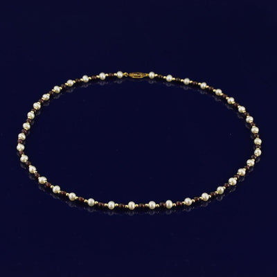 "4-5mm Garnet & White Fresh Water Pearl 18"" Necklace with 18ct Gold Beads"