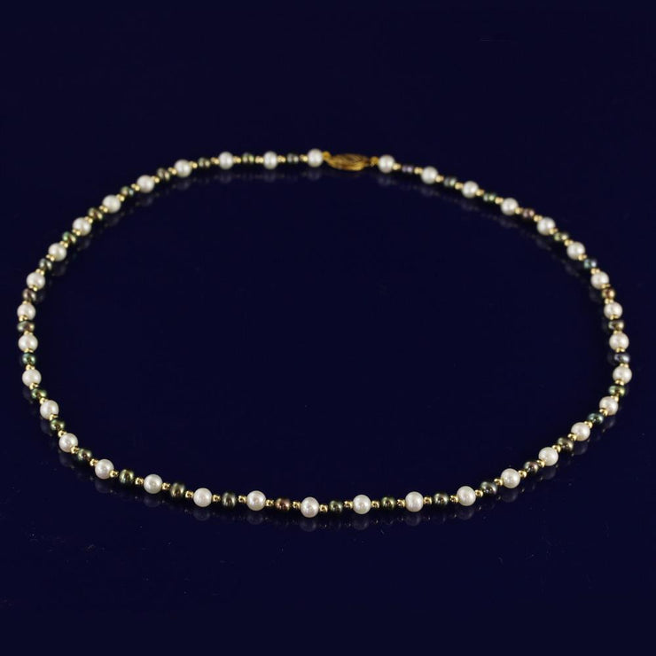 "4-5mm Black & White Fresh Water Pearl 18"" Necklace with 18ct Gold Beads"