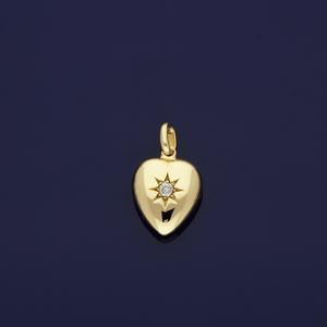9ct Yellow Gold Old-Cut Diamond Heart Pendant