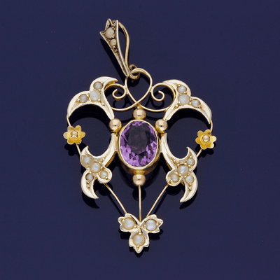 9ct Yellow and Rose Gold Amethyst & Pearl Pendant
