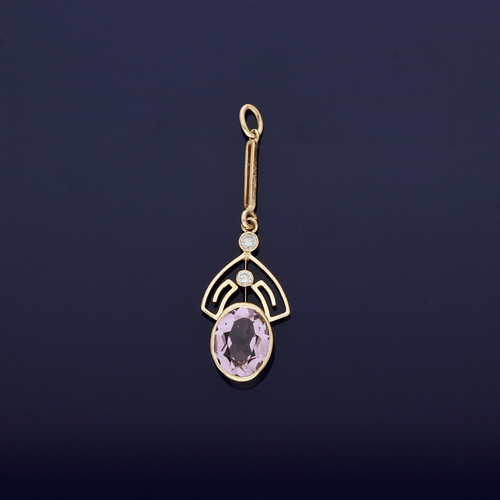 9ct Rose Gold Amethyst & Diamond Pendant