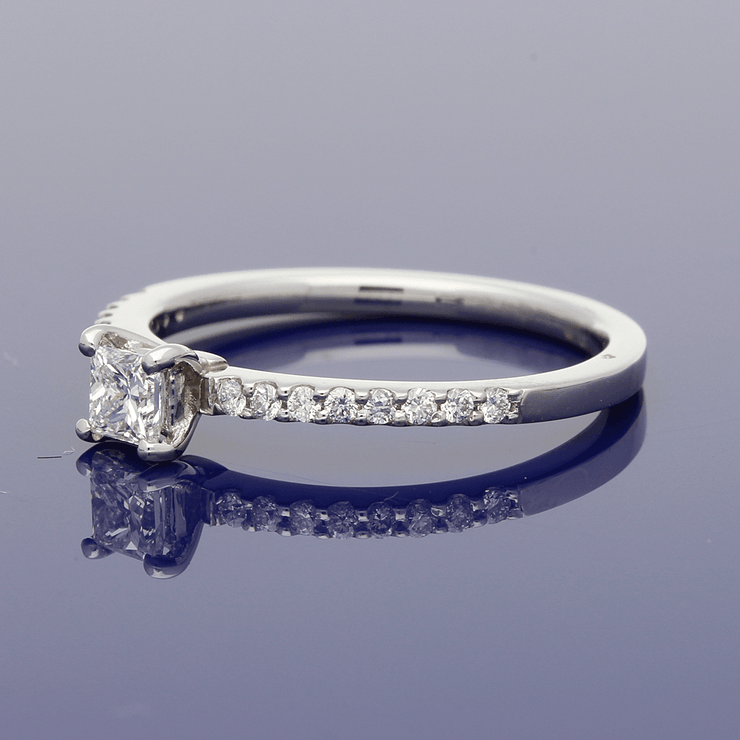 Platinum Certificated 0.24ct Princess Cut Diamond Solitaire Engagement Ring with Diamond Set Shoulders