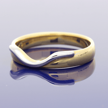 18ct Yellow & White Gold Curve Shaped Wedding Ring
