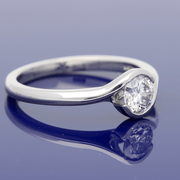 Platinum Diamond 0.50ct Solitaire Rub-Over Twist Ring