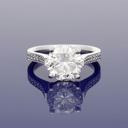 Platinum 3.76ct Solitaire Ring with Diamond Set Shoulders