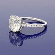 Platinum 4.60ct Solitaire Ring with Diamond Set Shoulders