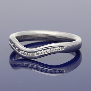 18ct White Gold  Diamond Curve Shaped Eternity Ring