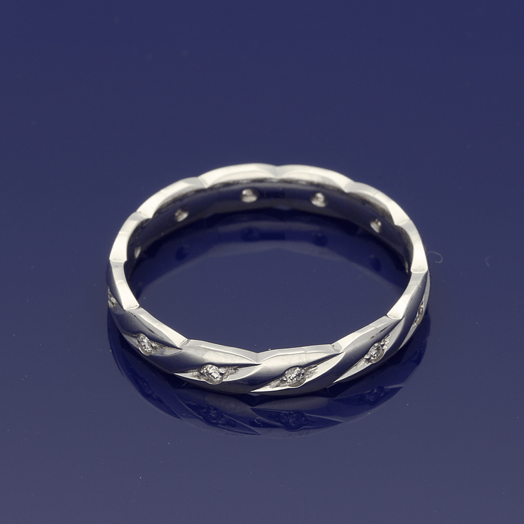 Platinum & Diamond Twisted Band