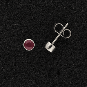18ct White Gold Ruby Rub-over Stud Earrings
