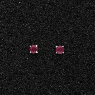 18ct White Gold Ruby Stud Earrings