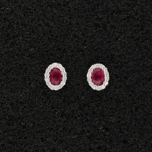 18ct White Gold Oval Rubies 0.40ct & Round Diamonds, Claw Set Cluster Stud Earrings