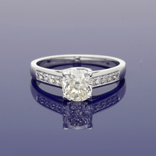 18ct White Gold Natural Yellow Diamond Solitaire with Diamond Set Shoulders