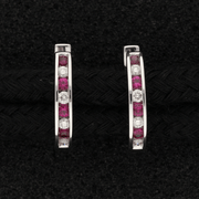 18ct White Gold Ruby & Diamond Channel Set Hoop Earrings