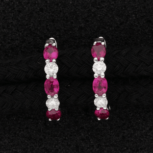 18ct White Gold Oval Ruby and Diamond Hoop Earrings