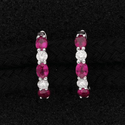 18ct White Gold Oval Ruby & Diamond Hoop Earrings