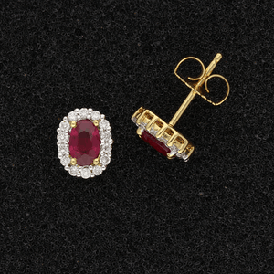 18ct Yellow Gold Oval Ruby & Diamond Cluster Earrings