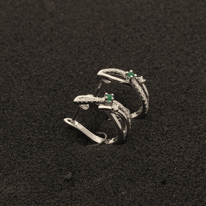 18ct White Gold Emerald & Diamonds Fancy Hoop Earrings
