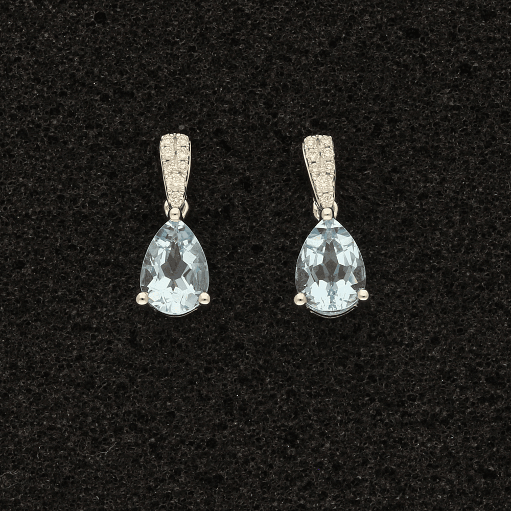 18ct White Gold Pear Shape Aquamarine & Diamond Drop Earrings