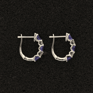 18ct White Gold Oval Tanzanite and Diamond Hoop Earrings