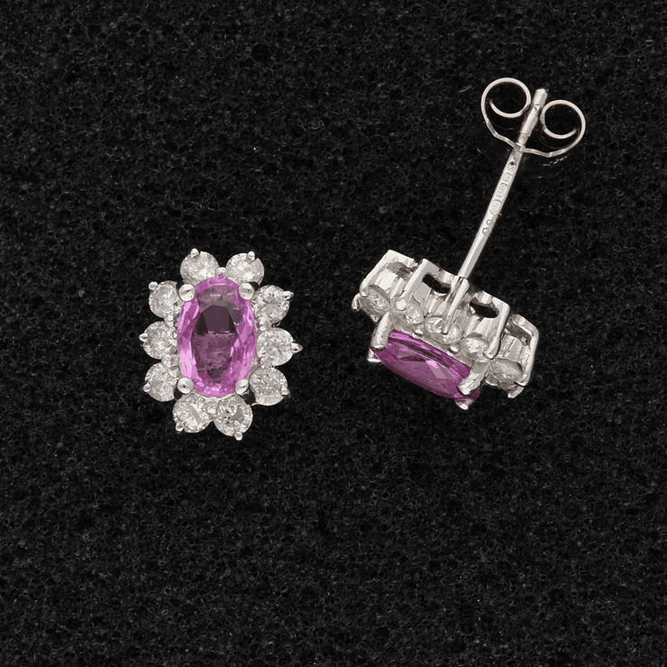 18ct White Gold Oval Pink Tourmaline & Diamond Cluster Earrings