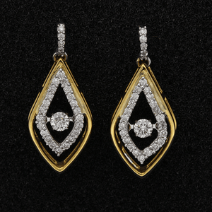 18ct White & Yellow Gold Diamond Earrings