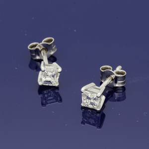 18ct White Gold Asscher Cut Diamond Stud Earrings 0.60ct