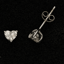 18ct White Gold Heart Shape Diamond Stud Earrings 0.83ct