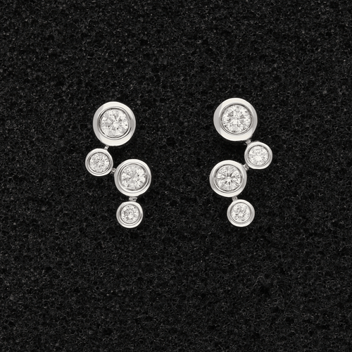 18ct White Gold Diamond Bubble Earrings