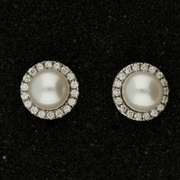 18ct White Gold Akoya Pearl Studs with Removable Diamond Halo Cuff